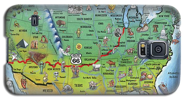 Historic Route 66 Cartoon Map Galaxy S5 Case
