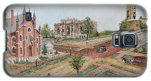 Galaxy S5 Case featuring the painting Historic Street - Lawrence Kansas by Mary Ellen Anderson