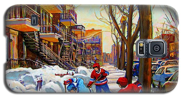 Hockey Art - Paintings Of Verdun- Montreal Street Scenes In Winter Galaxy S5 Case