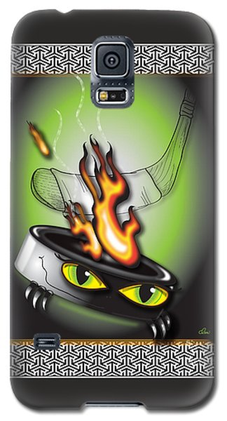 Hockey Puck In Flames Galaxy S5 Case