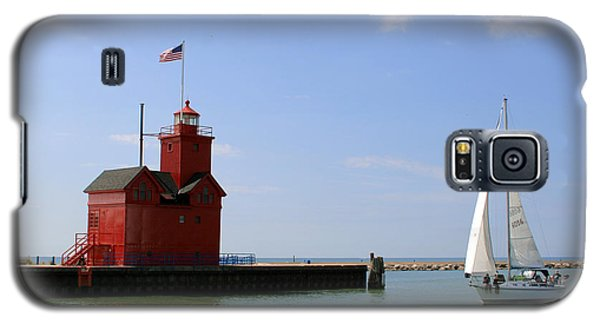 Holland Harbor Lighthouse With Sailboat Galaxy S5 Case by George Jones