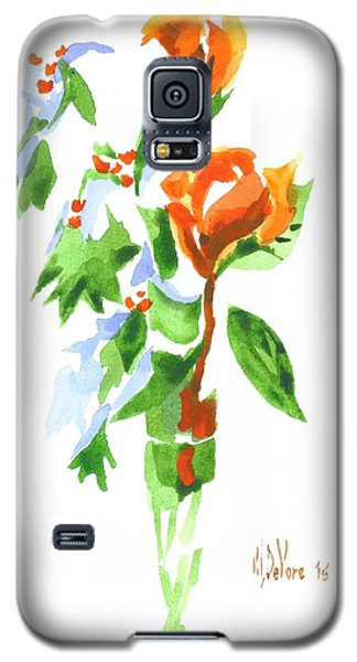 Galaxy S5 Case featuring the painting Holly With Red Roses In A Vase by Kip DeVore