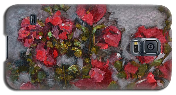 Galaxy S5 Case featuring the painting Hollyhocks by Pattie Wall