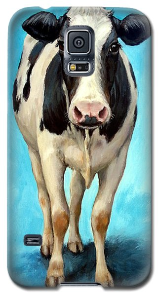 Cow Galaxy S5 Case - Holstein Cow Standing On Turquoise by Dottie Dracos