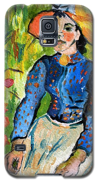 Galaxy S5 Case featuring the painting Homage To Vincent Young Women In Straw Hat Sitting In Wheat Field by Ginette Callaway