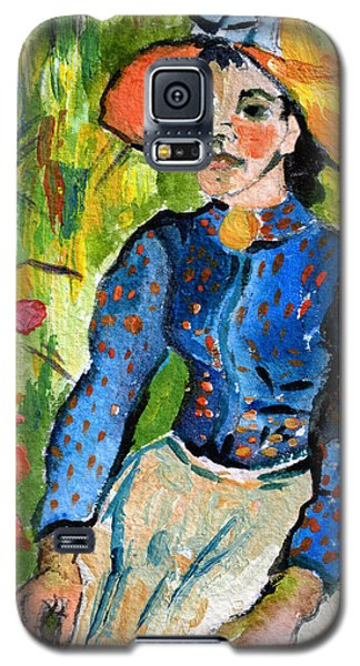 Homage To Vincent Young Women In Straw Hat Sitting In Wheat Field Galaxy S5 Case by Ginette Callaway