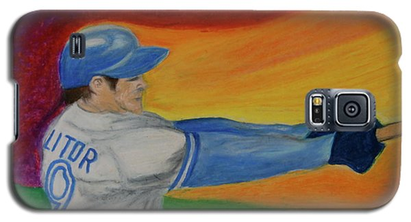 Galaxy S5 Case featuring the drawing Home Run Swing Baseball Batter by First Star Art