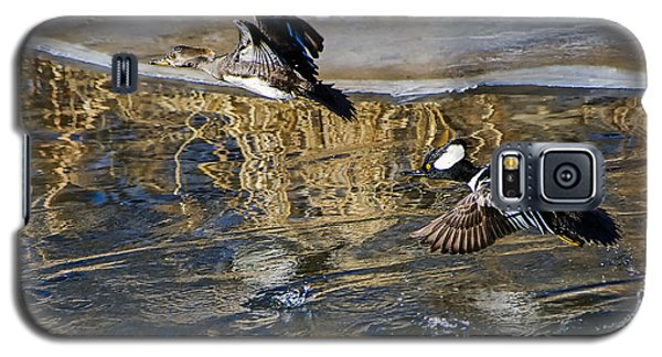 Galaxy S5 Case featuring the photograph Hooded Merganser Ducks In Flight by Stephen  Johnson