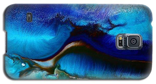Horizontal Abstract Art Just Blue By Kredart Galaxy S5 Case