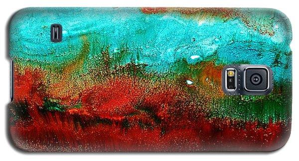 Horizontal Panoramic Abstract Art - Burning Meadows By Kredart Galaxy S5 Case