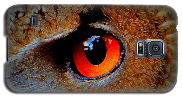 Galaxy S5 Case featuring the painting Horned Owl Eye by David Mckinney