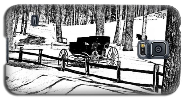 Galaxy S5 Case featuring the photograph Horse And Buggy - No Work Today A Black And White Abstract by Janice Adomeit