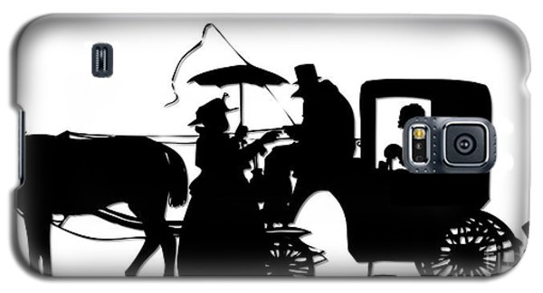 Horse And Carriage Silhouette Galaxy S5 Case