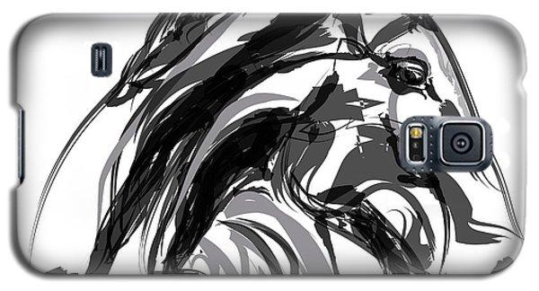 Horse- Apple -digi - Black And White Galaxy S5 Case
