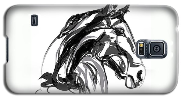 Horse- Apple -digi - Black And White Galaxy S5 Case by Go Van Kampen