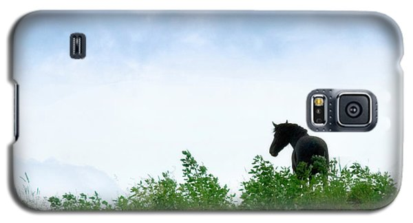 Galaxy S5 Case featuring the photograph Horse On The Hill by Joan Davis