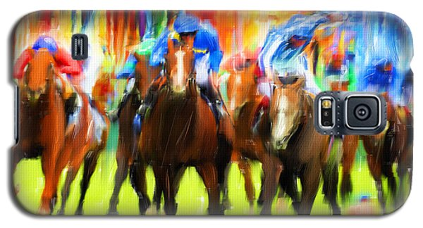 Horse Racing Galaxy S5 Case by Lourry Legarde