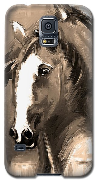 Galaxy S5 Case featuring the painting Horse Together 1 Sepia by Go Van Kampen