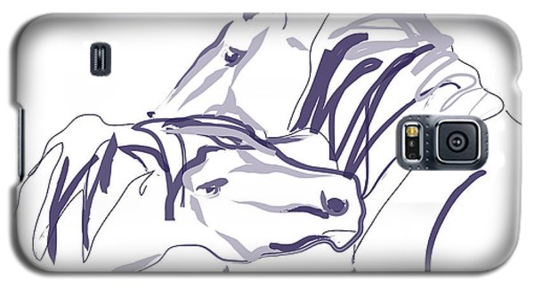 Galaxy S5 Case featuring the painting Horse - Together 10 by Go Van Kampen