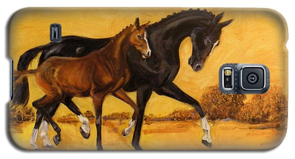 Galaxy S5 Case featuring the painting Horse - Together 2 by Go Van Kampen