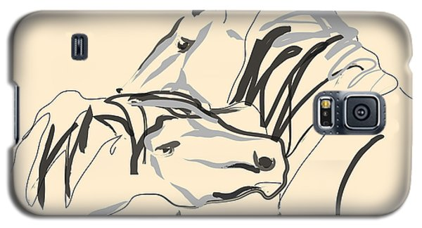 Galaxy S5 Case featuring the painting Horse - Together 4 by Go Van Kampen