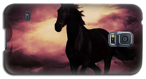 Horse With Tribal Tattoo Purple Galaxy S5 Case by Mindy Bench
