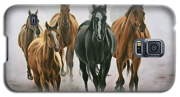 Galaxy S5 Case featuring the painting Horses And Dust by Jason Marsh