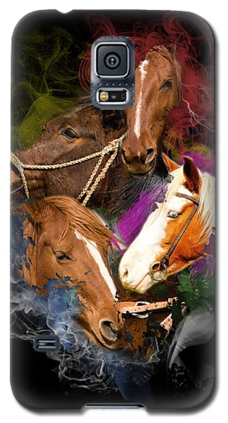 Galaxy S5 Case featuring the digital art Horses Gone Wild by Davina Washington