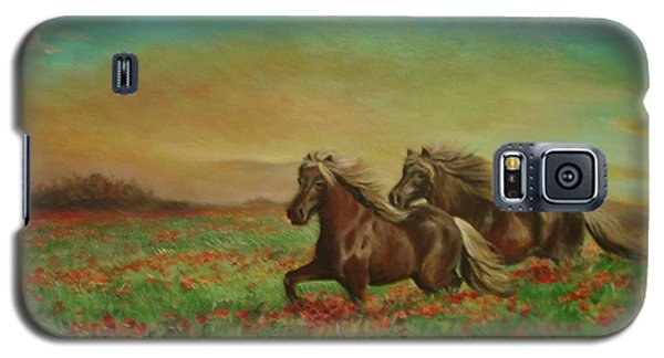 Galaxy S5 Case featuring the painting Horses In The Field With Poppies by Sorin Apostolescu
