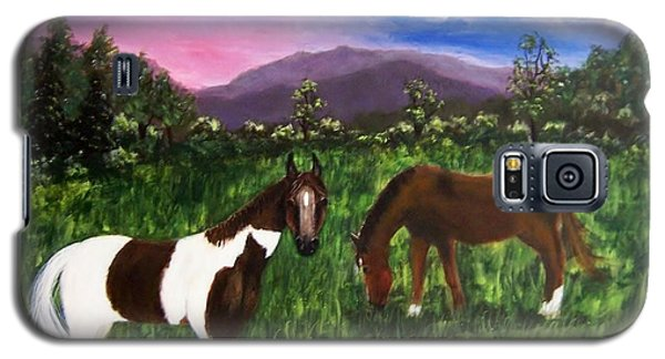 Galaxy S5 Case featuring the painting Horses by Jamie Frier