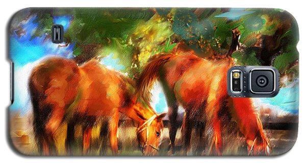 Galaxy S5 Case featuring the painting Horses On A Kentucky Farm by Ted Azriel