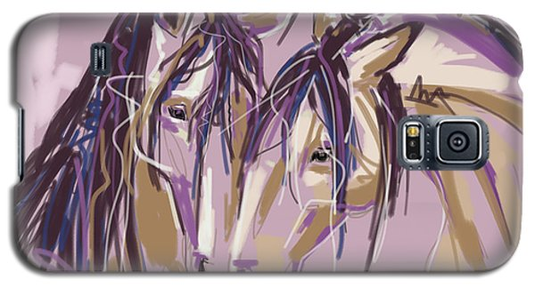 Galaxy S5 Case featuring the painting horses Purple pair by Go Van Kampen