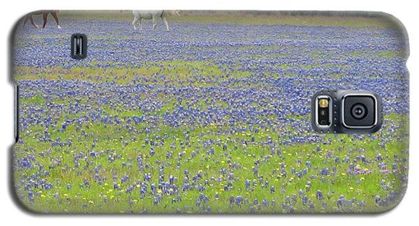 Horses Running In Field Of Bluebonnets Galaxy S5 Case by Connie Fox