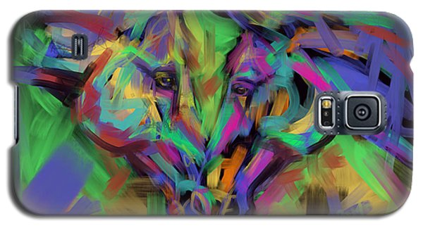 Galaxy S5 Case featuring the painting Horses Together In Colour by Go Van Kampen