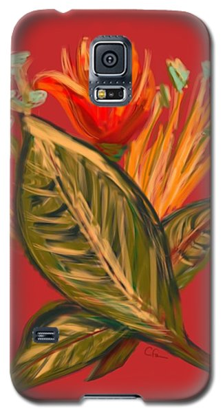 Galaxy S5 Case featuring the digital art Hot Tulip L by Christine Fournier