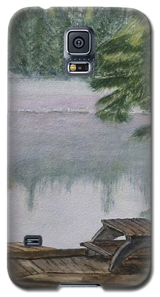Galaxy S5 Case featuring the painting Hotel Lake Resort In Bc by Kelly Mills