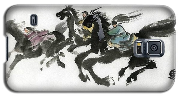 Galaxy S5 Case featuring the painting Hourse Racing by Ping Yan