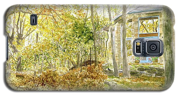 Galaxy S5 Case featuring the painting House On Grandmother Mountain - Golden Moments  by Joel Deutsch