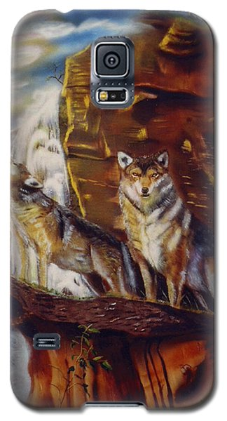 Galaxy S5 Case featuring the painting Howling For The Nightlife  by Thomas J Herring