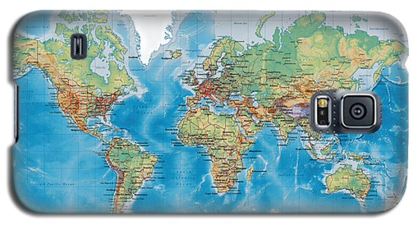 Huge Hi Res Mercator Projection Physical And Political Relief World Map Galaxy S5 Case