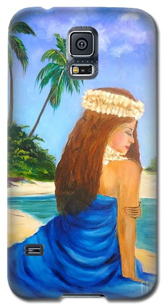Galaxy S5 Case featuring the painting Hula Girl On The Beach by Jenny Lee