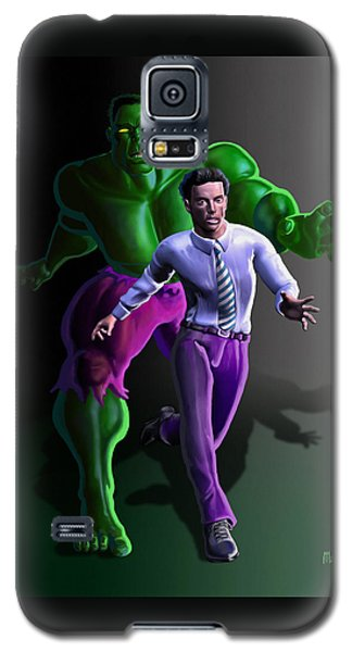 Galaxy S5 Case featuring the painting Hulk - Bruce Alter Ego by Anthony Mwangi
