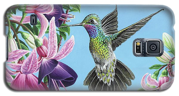 Galaxy S5 Case featuring the painting Hummingbird And Fuchsias by Jane Girardot