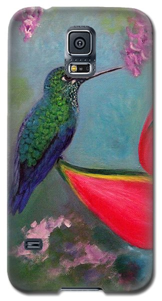 Galaxy S5 Case featuring the painting Hummingbird And Heliconia by Janet Greer Sammons