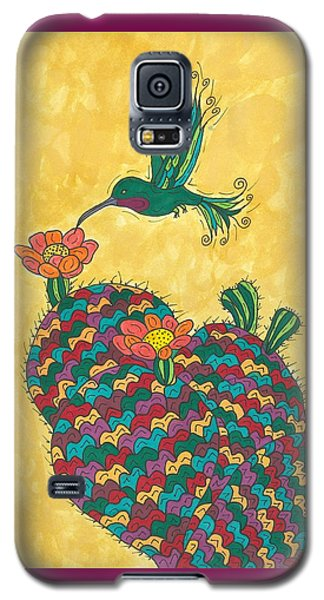 Galaxy S5 Case featuring the painting Hummingbird And Prickly Pear by Susie Weber