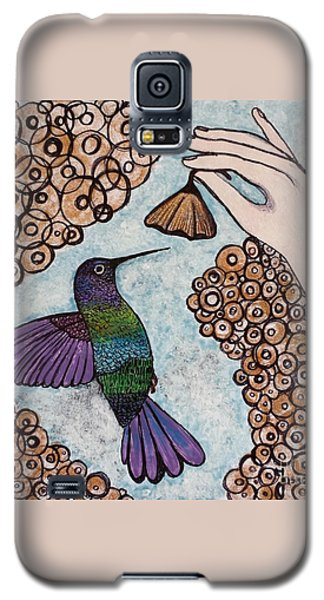 Galaxy S5 Case featuring the painting Hummingbird Golden Flower by Jasna Gopic