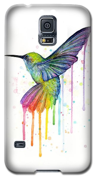 Hummingbird Of Watercolor Rainbow Galaxy S5 Case by Olga Shvartsur