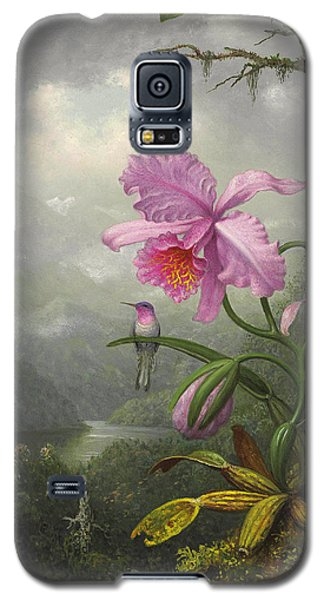 Orchid Galaxy S5 Case - Hummingbird Perched On The Orchid Plant by Martin Johnson Heade