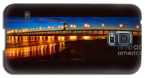 Galaxy S5 Case featuring the photograph Huntington Beach Pier Twilight Panoramic by Jim Carrell