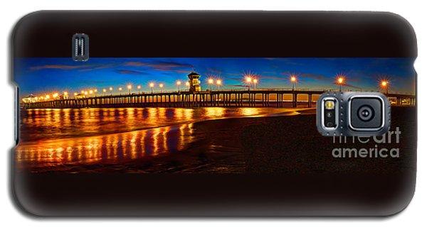 Huntington Beach Pier Twilight Panoramic Galaxy S5 Case by Jim Carrell